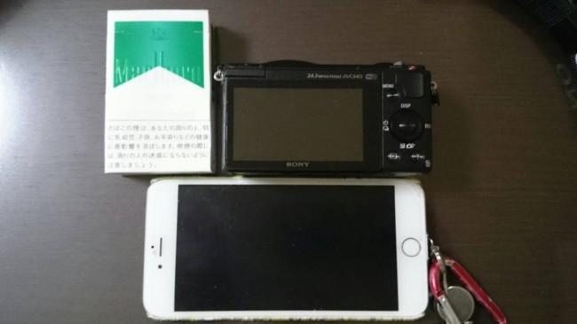 α5100 大きさ比較 iPhone6plus タバコの箱